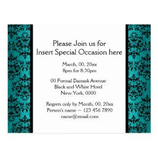 Blue black damask formal party postcard