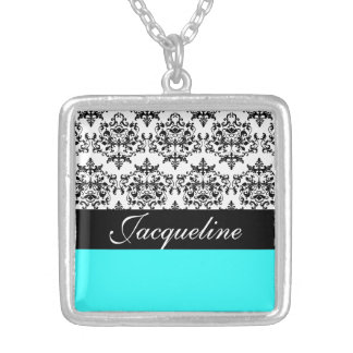 Blue black damask girls name personalized necklace