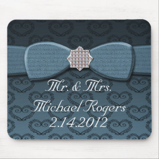 Blue & Black Damask Hearts Bow Bling Mouse Pad
