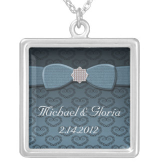 Blue & Black Damask Hearts Bow Bling Silver Plated Necklace