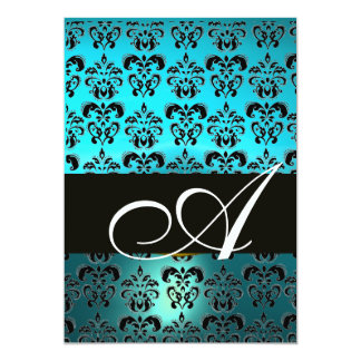 BLUE BLACK  DAMASK MONOGRAM ,bright white turquase Card