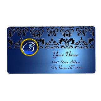 BLUE BLACK DAMASK MONOGRAM,sapphire turquase Custom Shipping Label
