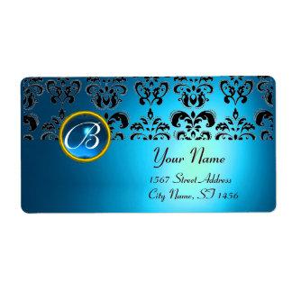 BLUE BLACK DAMASK MONOGRAM,sapphire turquase Custom Shipping Labels