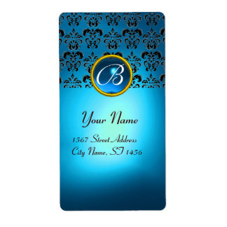 BLUE BLACK DAMASK MONOGRAM,sapphire turquase Personalized Shipping Label
