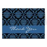 Blue Black Damask Monogram Thank You H203 Greeting Card