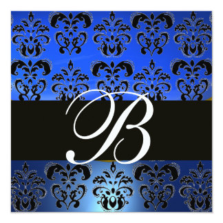 BLUE BLACK  DAMASK MONOGRAM , white Card