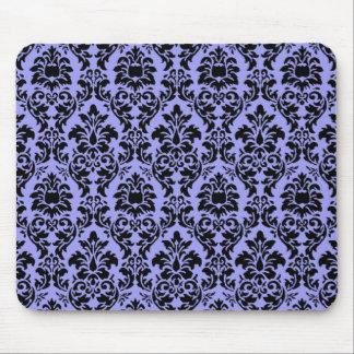 Blue & Black Damask Mouse Pad