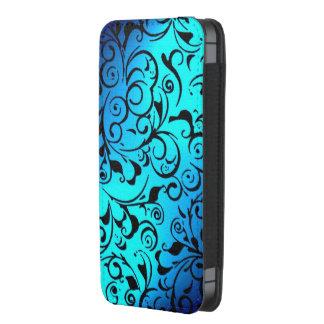 Blue black damask pattern iphone pouch