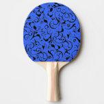 Blue black damask pattern ping pong paddle