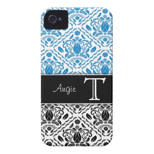 Blue/Black Damask Personalized iPhone 4/4s iPhone 4 Covers