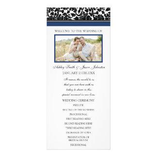 Blue Black Damask Photo Wedding Program
