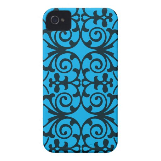 Blue & Black Damask Print iPhone 4/4s iPhone 4 Case