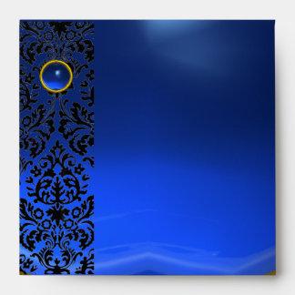 BLUE BLACK DAMASK Sapphire, Gold Envelope