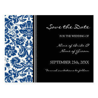 Blue Black Damask Save the Date Wedding Postcard