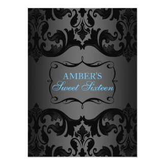 Blue & Black Damask Sweet 16 Birthday Invite