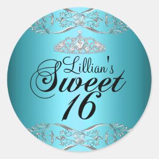 Blue Black Damask & Tiara Sweet 16 Sticker