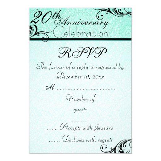 blue amp black damask wedding anniversary rsvp card custom