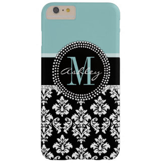 BLUE, BLACK DAMASK, YOUR MONOGRAM ,YOUR NAME BARELY THERE iPhone 6 PLUS CASE