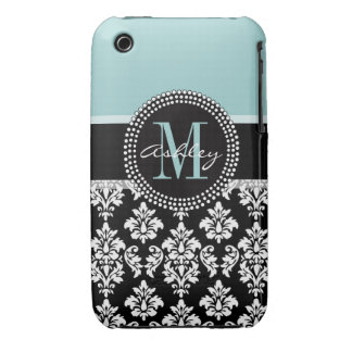 BLUE, BLACK DAMASK, YOUR MONOGRAM ,YOUR NAME iPhone 3 COVER