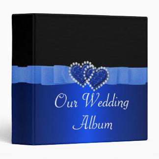 Blue & Black Diamond Locking Hearts Wedding 3 Ring Binder