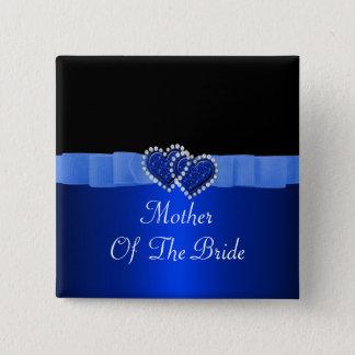 Blue & Black Diamond Locking Hearts Wedding Pinback Button
