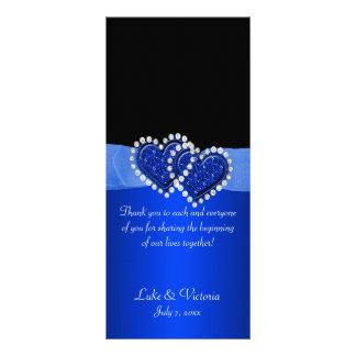 Blue & Black Diamond Locking Hearts Wedding Rack Card Design