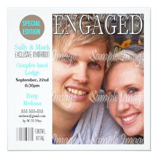 Blue black engagement couple PERSONALIZE Custom Invites