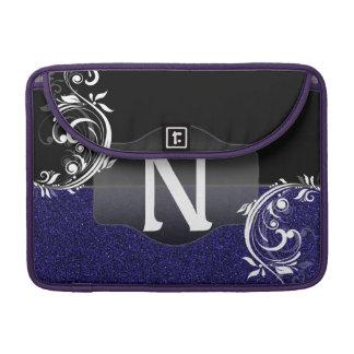 Blue Black Faux Glitter Classy Custom Monogram MacBook Pro Sleeve