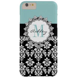 Blue Black Fleur de Lis Damask Monogram Barely There iPhone 6 Plus Case