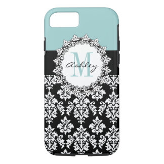 Blue Black Fleur de Lis Damask Monogram iPhone 8/7 Case