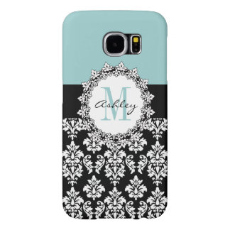 Blue Black Fleur de Lis Damask Monogram Samsung Galaxy S6 Case