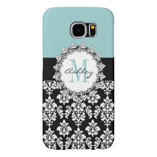 Blue Black Fleur de Lis Damask Monogram Samsung Galaxy S6 Cases