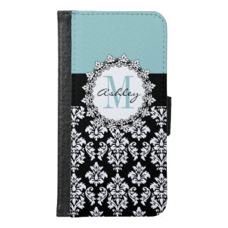 Blue Black Fleur de Lis Damask Monogram Wallet Phone Case For Samsung Galaxy S6