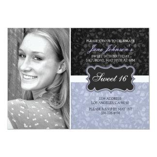 Blue & Black Floral Design Photo Sweet16 Invite