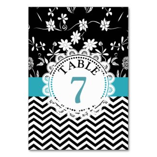 Blue Black Floral Wedding Table Number Card