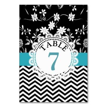 Wedding Themed Blue Black Floral Wedding Table Number Card