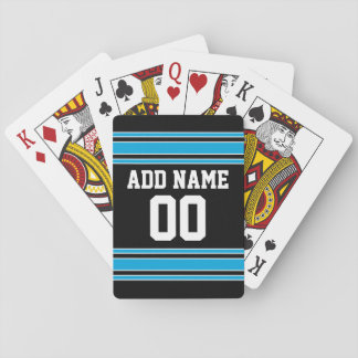 Blue Black Football Jersey Custom Name Number Poker Deck