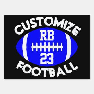 Blue Black Football Team, Player Number & Position Sign