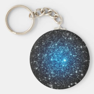 Blue & Black Galaxy Basic Round Button Keychain