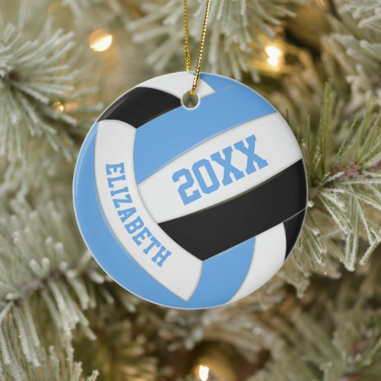 blue black girls boys sports keepsake volleyball ceramic ornament