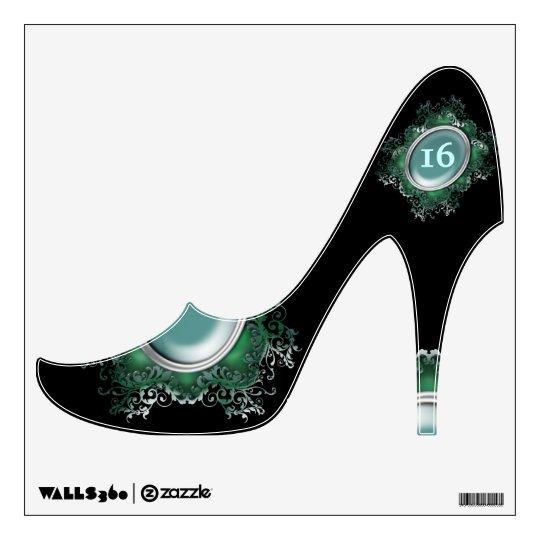 Blue black girly fashion shoe wall decal