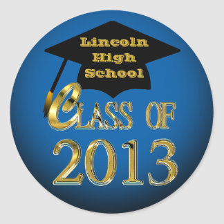 Blue Black Gold Class Of 2013 Graduation Stickers