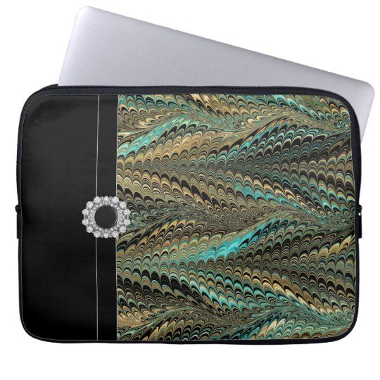 Blue Black Gold Elegant Laptop Sleeve