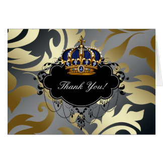 Blue Black Gold Prince Crown Thank You Cards