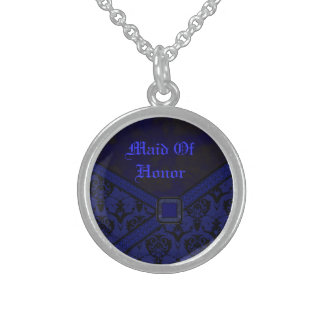 Blue & Black Goth Lace Wedding Sterling Silver Necklace