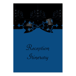 Blue & Black Gothic Chandelier & Cross Wedding Business Card Templates