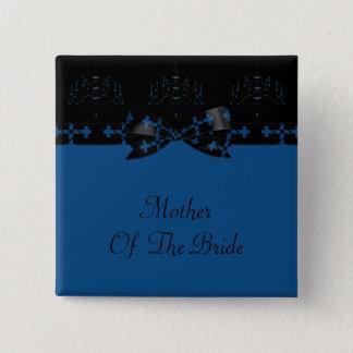 Blue & Black Gothic Chandelier & Cross Wedding Pinback Button