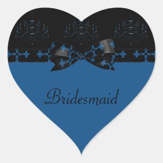 Blue & Black Gothic Chandelier & Cross Wedding Heart Sticker