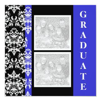 Blue black graduation damask template PERSONALIZE Card