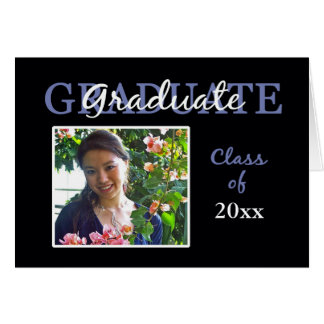 Blue/Black Graduation Party Invitation/Photo Card